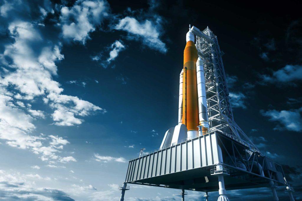 Rocket on launchpad